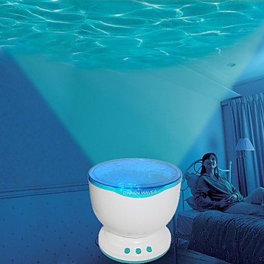 Led Night Light Projector Ocean Blue Sea Waves Projection Lamp with Speaker audio cable