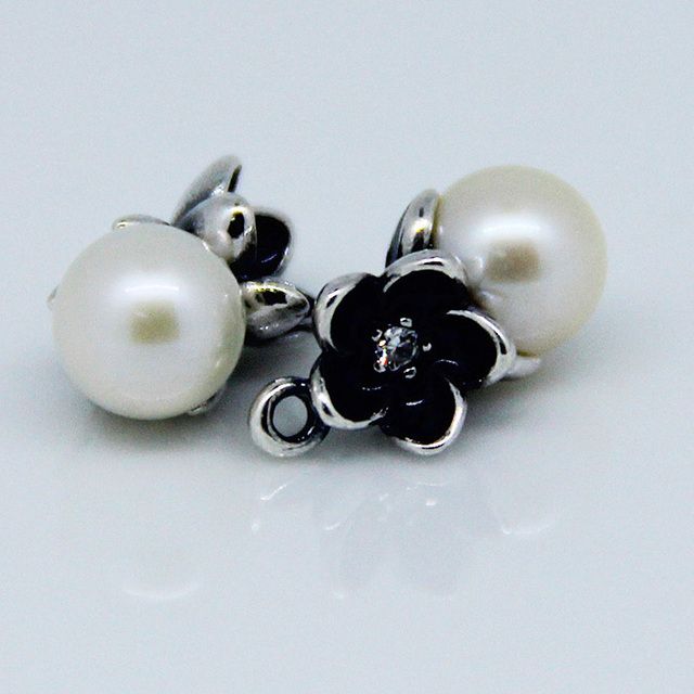 Stud Earring Compatible with European Style 925 Sterling Silver Jewelry Floral Pendant Freshwater Cultured Pearls CKK