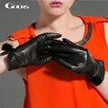 Gours Winter Women Genuine Leather Gloves Fashion New Brand Black Warm Driving Glove Goatskin Mittens Cute Mink Ball GSL023