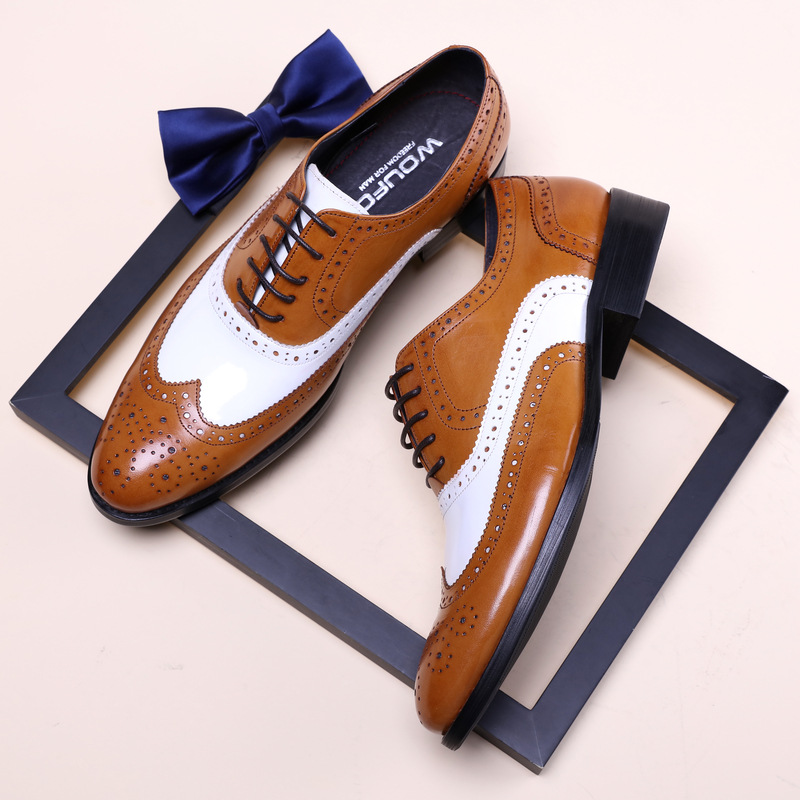QYFCIOUFU Luxury Oxfords Men Dress Shoes 2019 Classic Black And White Formal Business Wedding Shoes Genuine Leather Brogue Shoes
