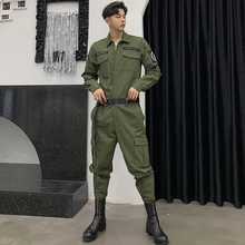 Vintage Tooling Jumpsuit Men's 2019 Spring New Arrival Casual One Piece Overalls Hip Hop Loose Work Long Sleeve Rompers DS50405 punk style men loose overalls jumpsuit mens one piece jumpsuit hip hop suspender pants male casual overall big pockets rompers