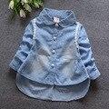 2017 весной и осенью новый женский ребенок женского пола ребенка ковбой точка кардиган рубашка TST0033
