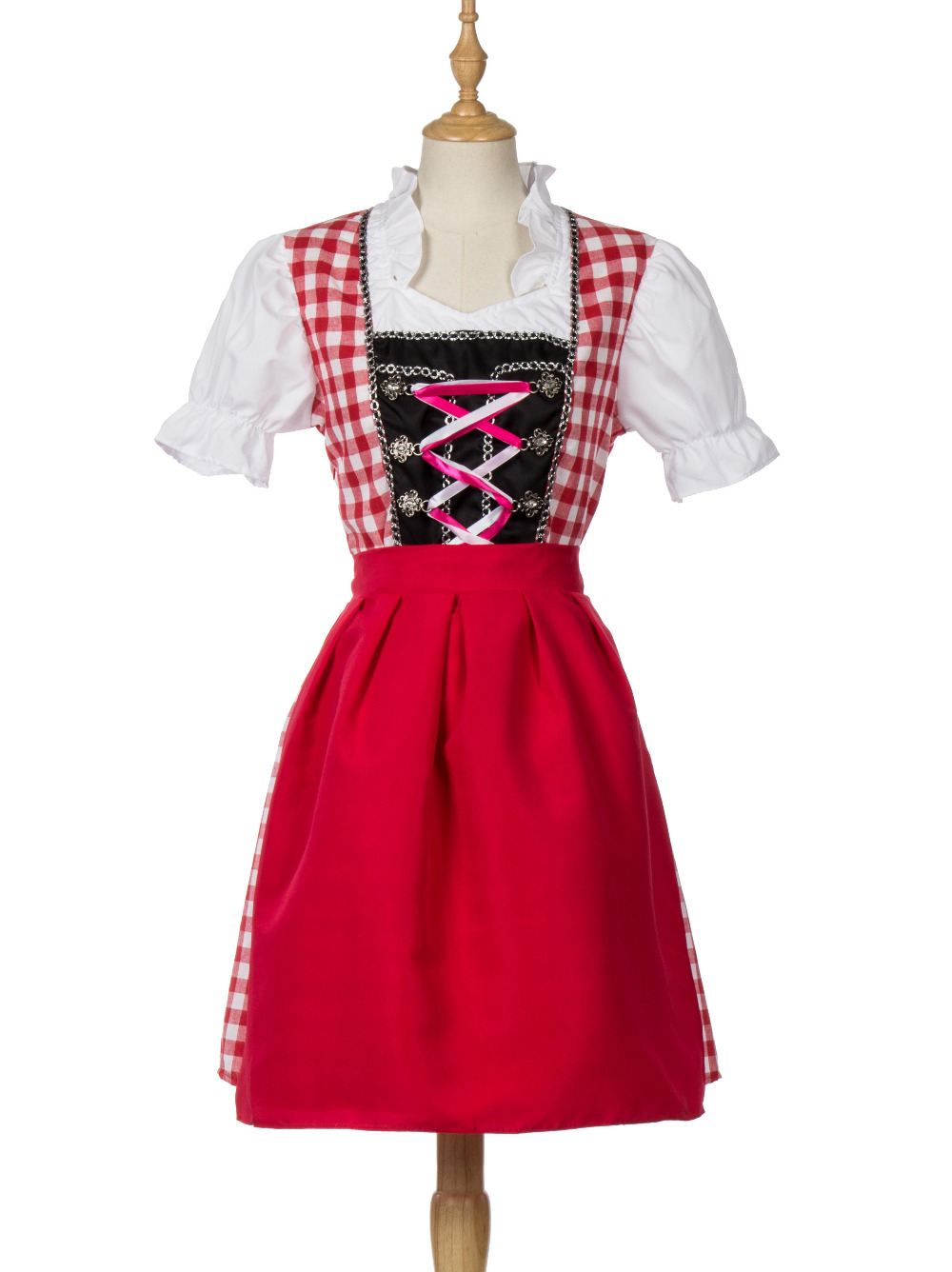 Sexy Germany Bavaria Oktoberfest Dirndl Costumes Beer Girl Women Wench Outfit With Apron