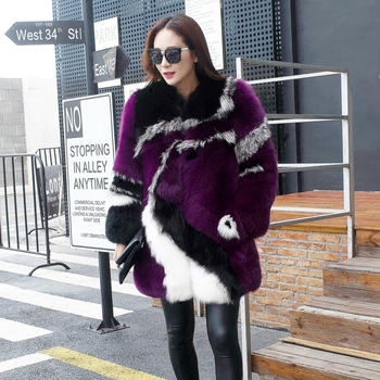 EMS Free Shipping 100% Real Fox Fur Coat, Natural Fox Whole Skin High Quality Outwear Special Warm BE-1622 2
