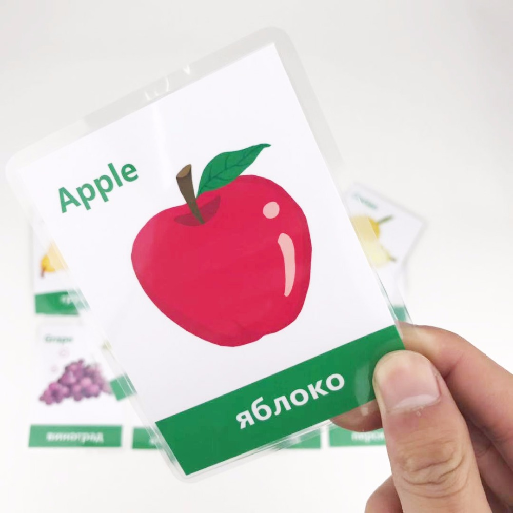 Flash-Card Game Educational-Toy Card-Learning-English Fruit-Montessori Word Russian Children