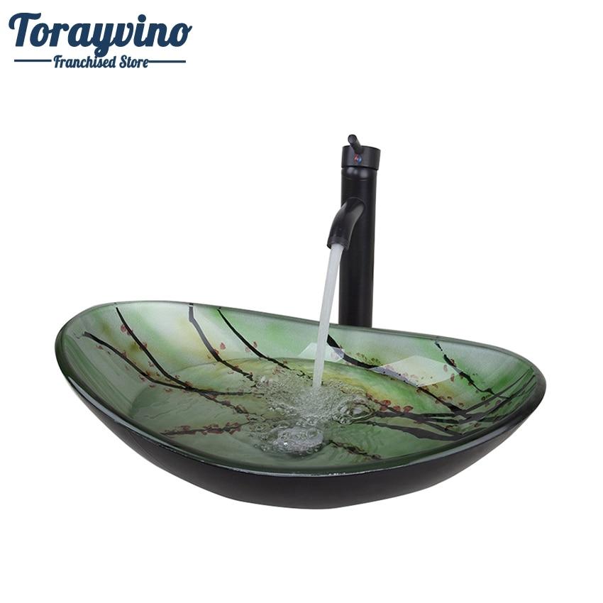 Torayvino Green Oval Glass Washroom Basin Vessel Vanity Sink Bathroom Mixer Basin Washbasin Brass Black ORB Faucet Set Drain
