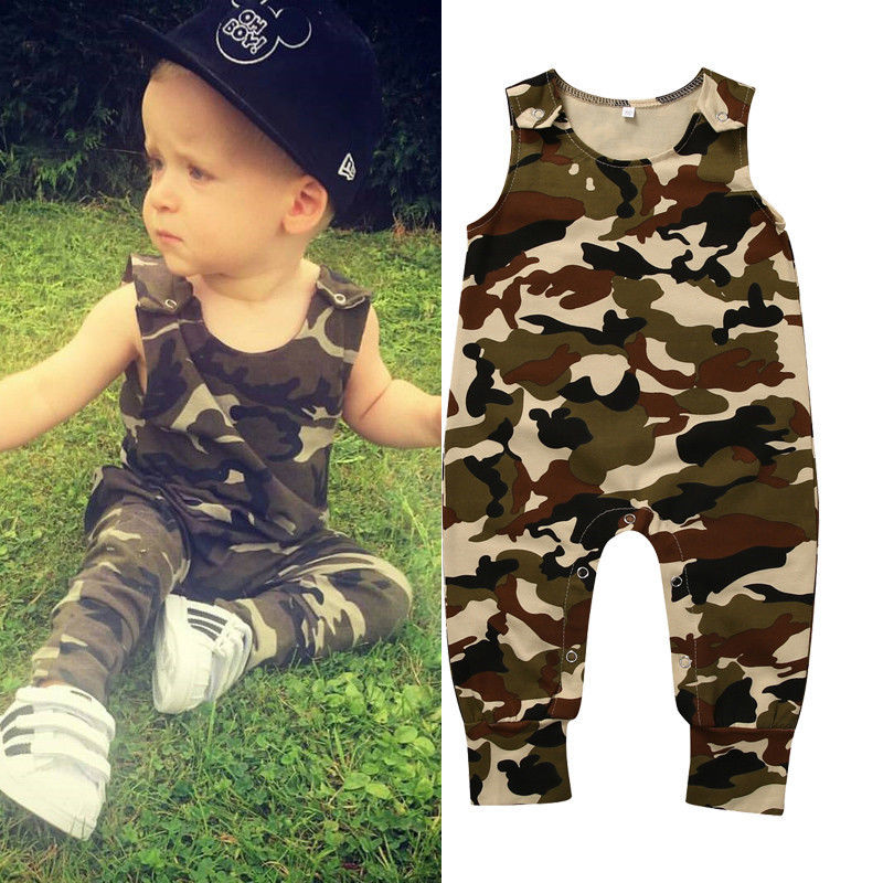 Newborn Infant Baby Boys Clothing Romper Sleeveless Cotton Army Green Cute Sunsuit Outfits Baby Boy Clothes Set