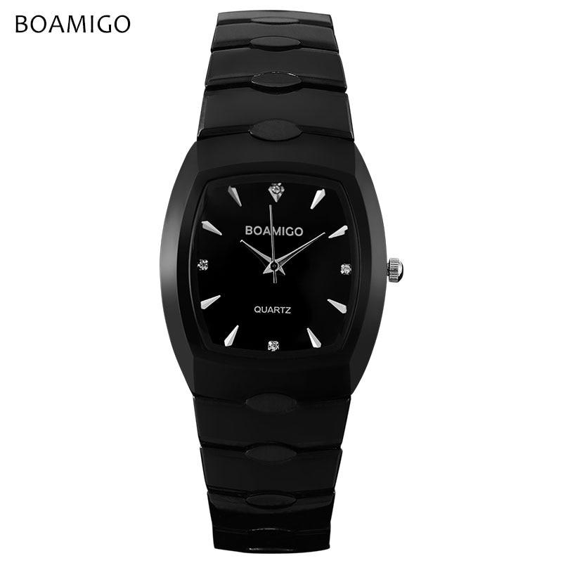 Luxury men quartz watch black steel wristwatches casual dress business clock male hot BOAMIGO brand waterproof Relogio Masculino christmas tree print tapestry wall hanging decor
