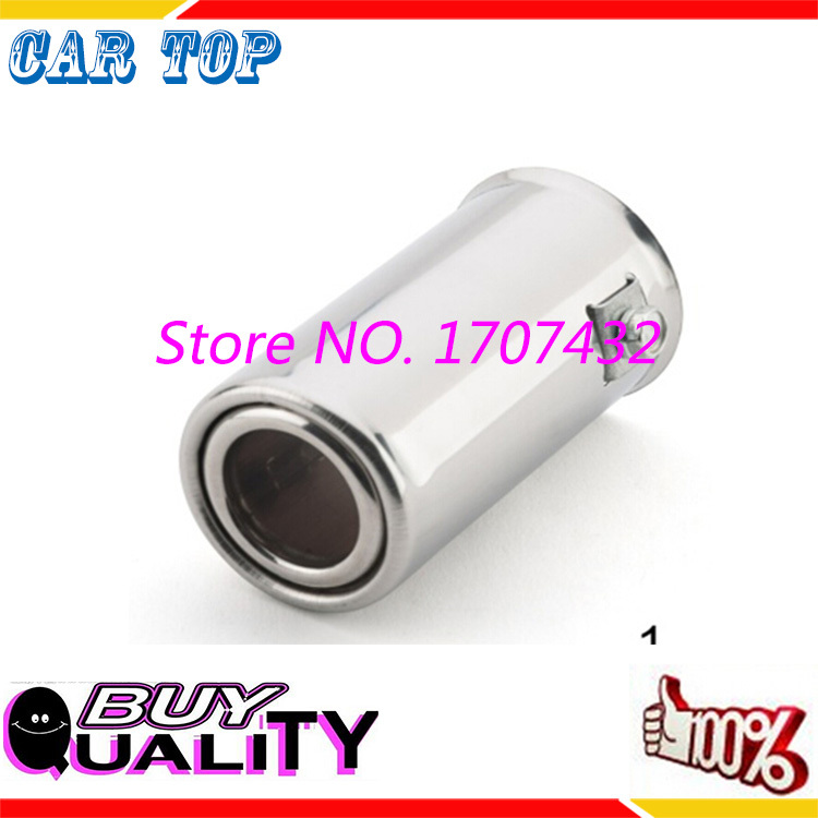 High qulity Universal Fits font b Car b font Stainless Steel Chrome Round font b EXHAUST
