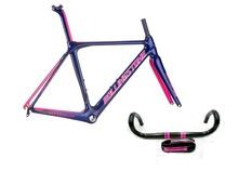Rolling Stone Compass Road Carbon frame w/handle bar, stem, Seat post for Aero/Climbing 47 50 52cm Dark Blue/Pink