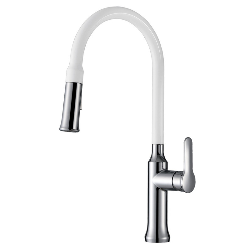2017 New Arrival Patent Design High Quality High Arc Gooseneck Sink Mixer Tap White Kitchen Faucet