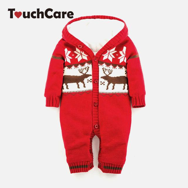 Macacão de bebê Quente Grossa Camisola de Malha De Inverno Recém-nascidos Meninos Meninas Macacão Escalada Roupas de Natal Veados Com Capuz Outwear