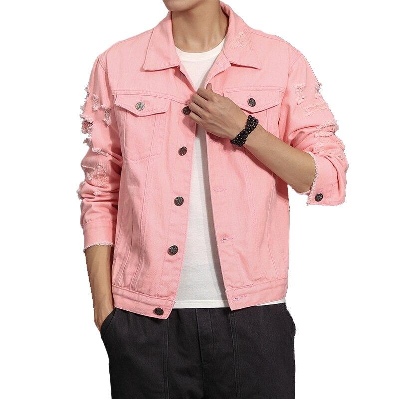 diseño innovador 2e221 61de6 € 23.88 50% de DESCUENTO|Otoño chaqueta de mezclilla nuevo hombre abrigo de  mezclilla Rosa chaqueta 5XL-in Chaquetas from Ropa de hombre on ...