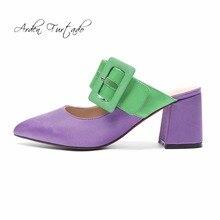 dbed8948067714 Arden Furtado 2018 spring summer fashion satin silk shoes woman chunky  heels 7cm buckle slippers purple
