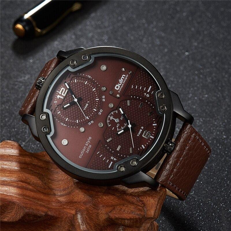 grande relógio masculino pulseira de couro relógio