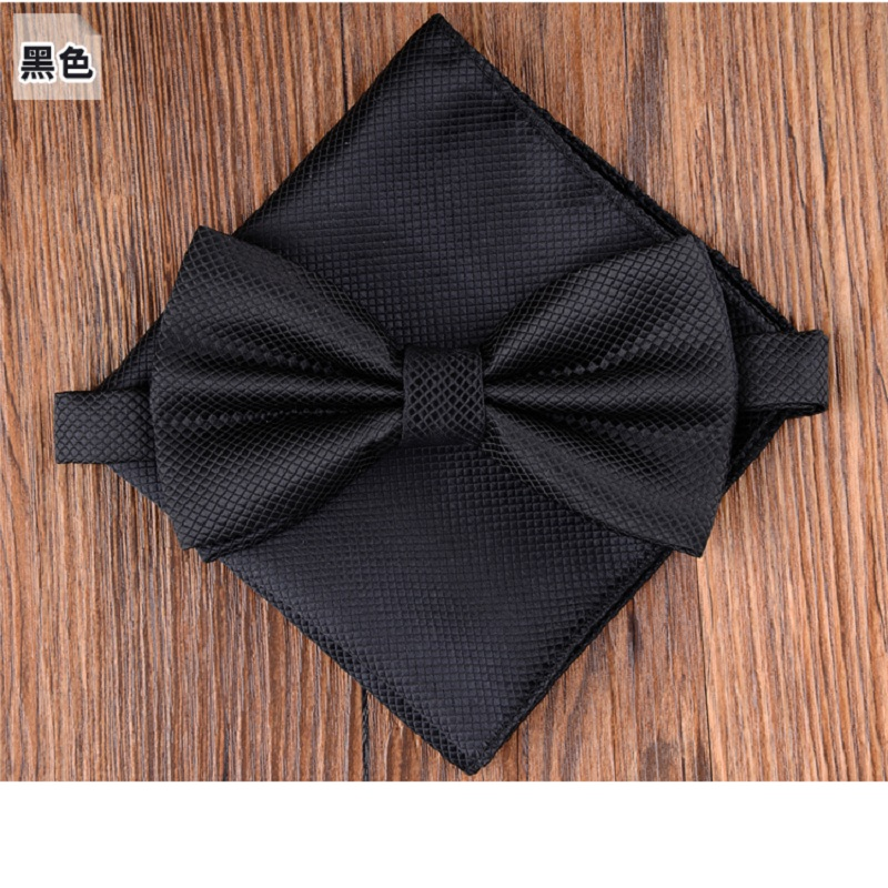 Bow Tie Set Fashion Ties For Men Pocket Square Solid Color Party Butterfly Business Bowtie Handkerchief