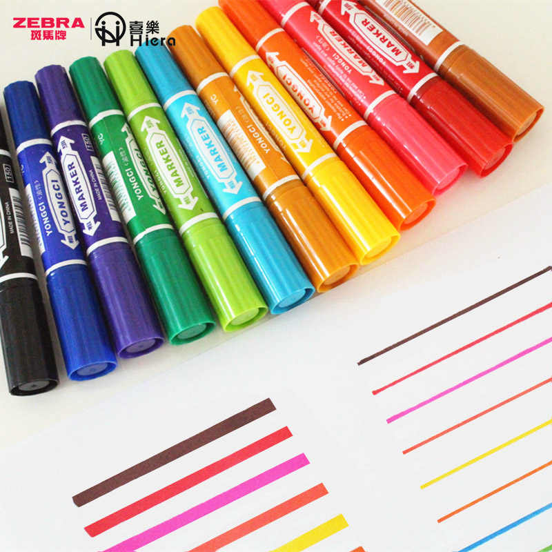TUNACOCO  Thick Mark Pens ZEBRA 2pcs Markers Double Head Art Marker Colorful Pens for Art School Office Supplies Bb1710178