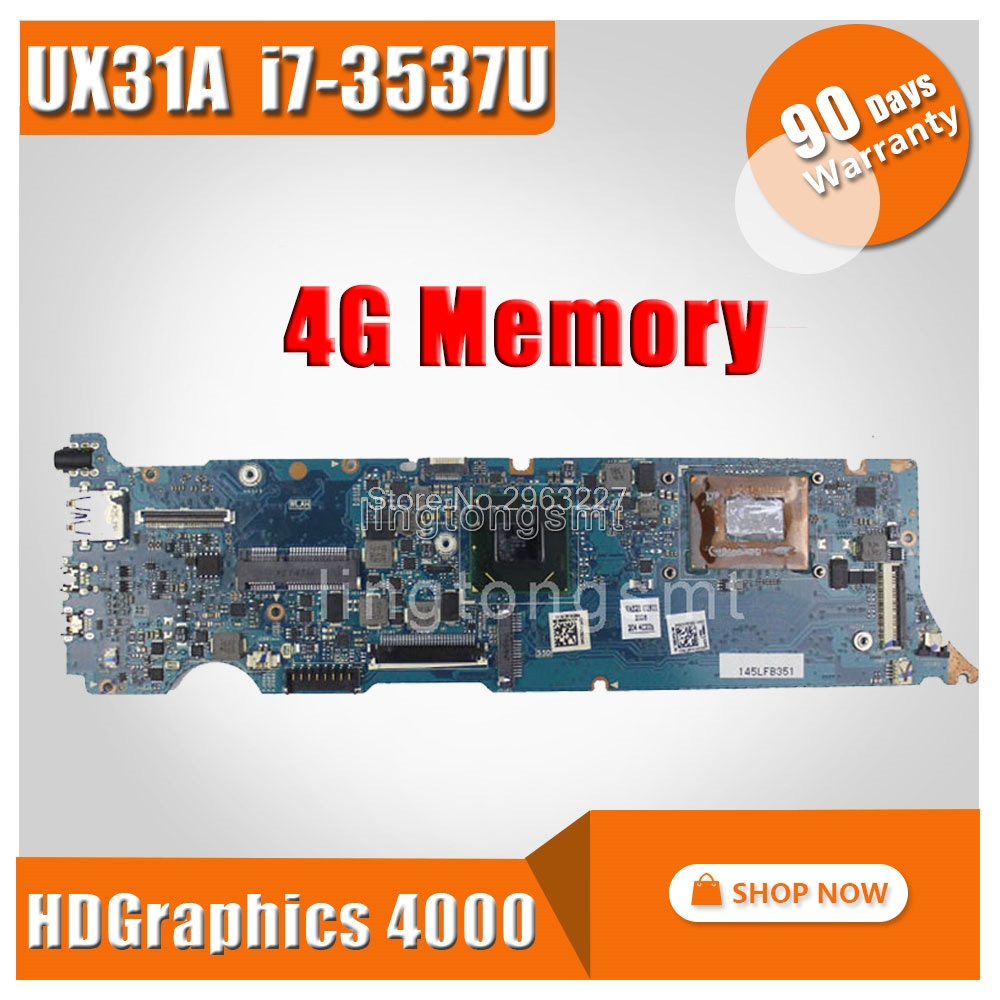 UX31A Motherboard REV4.1 I7-3537 4G Memory For ASUS UX31A UX31A2 Laptop Motherboard UX31A Mainboard UX31A Motherboard Test OK