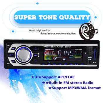 USB SD USB ładowarka samochodowa Radio samochodowe układ strojeniowy FM Radio samochodowe 12V zestawy Stereo 1 DIN Bluetooth AUX MP3 samochodowy sprzęt Audio tanie i dobre opinie PolarLander CN (pochodzenie) Aluminum+Plastic 800*800 12 v 178 mm (W) * 50MM (H) * 125 mm (D) 8027BT Angielski Black 4*45W-4*60W