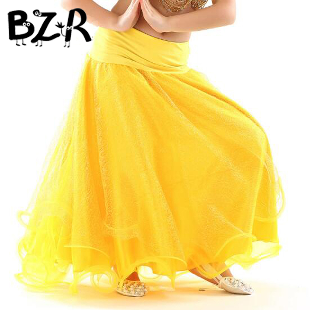 BAZZERY kids Belly Dancing Clothes Flare Long Maxi Skirts Girls Chiffon Skirt Professional Belly Dance Skirt for Children