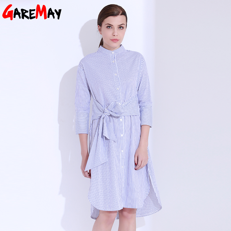 Skjorta klänning kvinnor randig mantel femme snörning tunika - Damkläder - Foto 4