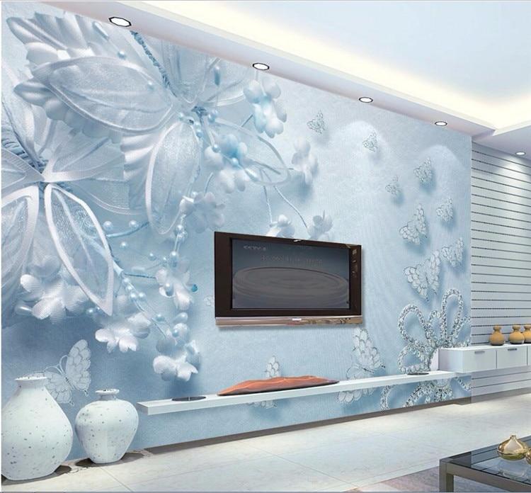 Foto Kustom Wallpaper 3D Fresco Stiker Dinding Murni Estetika Biru 3d Transparan Bunga Kupu kupu Dinding