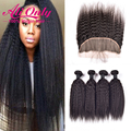 7A Kinky Straight With Closure Ear To Ear Lace Frontal Closure With Bundles Alionly 4 Bundles Brazilian Virgin Hair With Closure