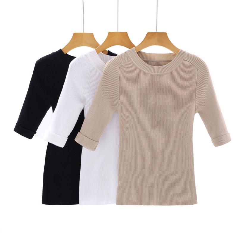 2017 summer fashion mujeres Media manga pullover sweater mujer suéter camisa bás
