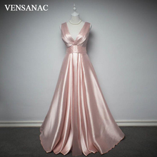 VENSANAC 2018 V Neck Pleat Sash Sleeveless A Line Long Evening Dresses Elegant Satin Backless Party Prom Gowns