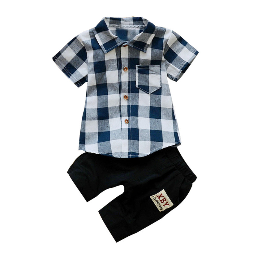 ARLONEET Toddler Kids Baby Boy Plaid T Shirt Tops+Shorts Pants 2Pcs Outfits Clothes Set Feb23/P 2pcs children outfit clothes kids baby girl off shoulder cotton ruffled sleeve tops striped t shirt blue denim jeans sunsuit set