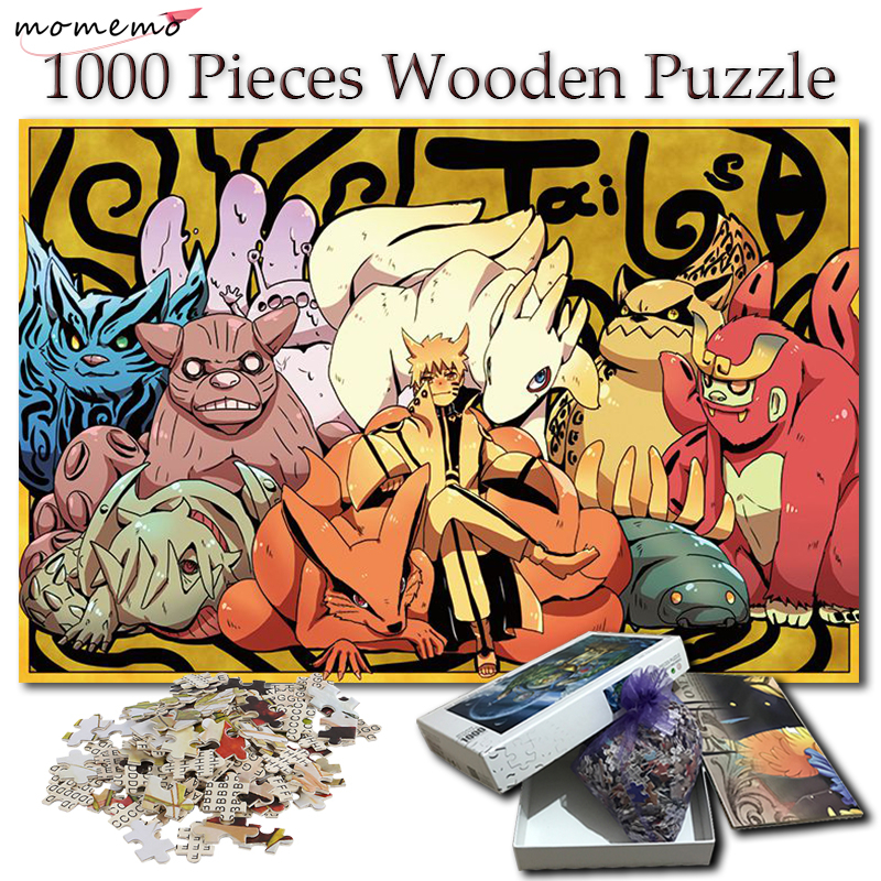 MOMEMO Puzzle 1000 Pieces Tailed Beasts Naruto Wooden Jigsaw Puzzles NARUTO Cartoon Anime Puzzle Games Toy