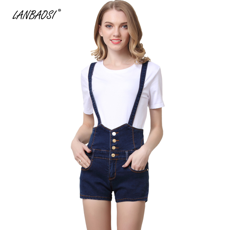 LANBAOSI Blue Black Jeans Short Overalls for Women Slim Casual Summer Denim Suspenders Shorts Bodysuit Straps Jean Jumpsuit