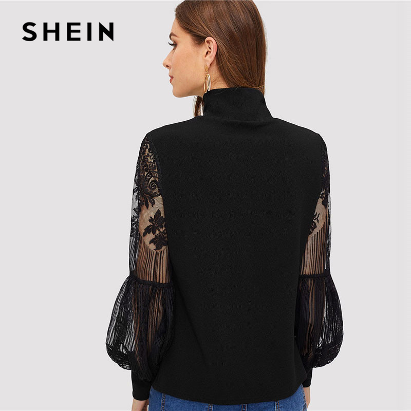 SHEIN Women High Neck Lace Lantern Sleeve Top Fashion Mesh Blouse Women's Long Sleeve Pattern Printing Ladies Tops 1