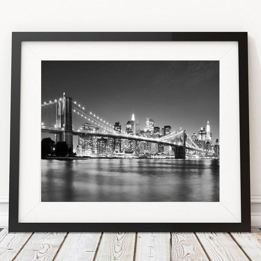New York City Picture Canvas Painting Modern Wall Art: Modern New York City Brooklyn Bridge Black & White