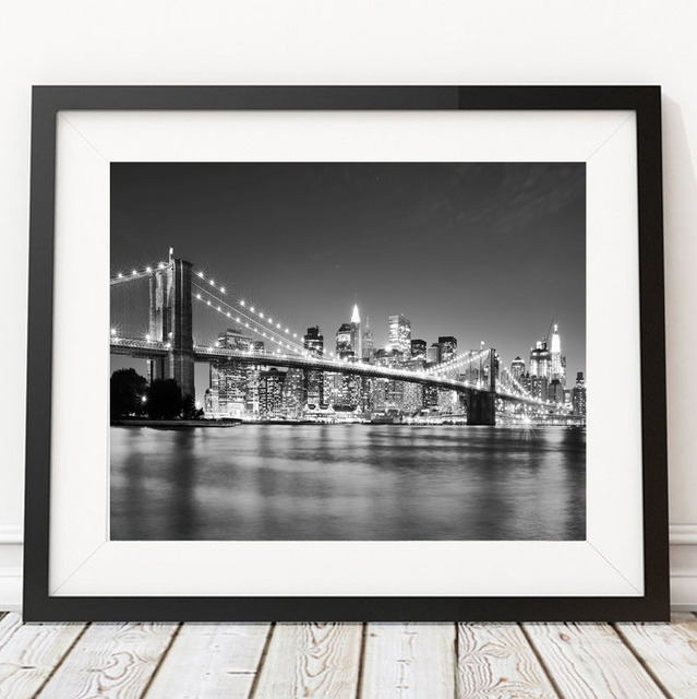 Modern new york city brooklyn bridge black white pictures canvas art home decor painting on