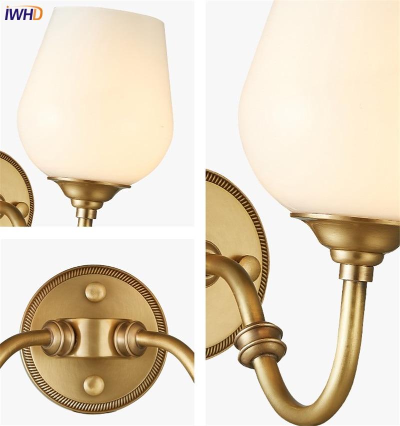 IWHD Européenne Vintage Pur Cuivre Verre Applique Murale Lampe De