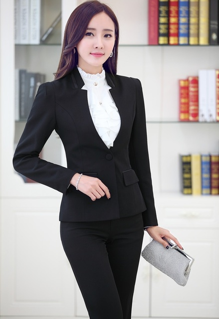 Novelty Black Uniform Styles Professional Business Suits Jackets And Pants 2015 Autumn Winter Pantsuits Female Trousers Sets