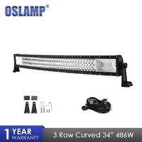 Oslamp Tri Row 34 486W LED Light Bar Curved Combo Beam Led Bar Work Light For 4x4 Truck ATV Trailer Car Offroad Driving Light