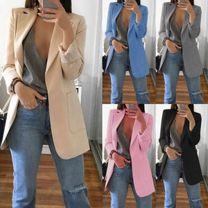 Image 5 - Newly Women Autumn Cardigans Long Sleeves Slim Fit Turn down Collar Female Suit Coat