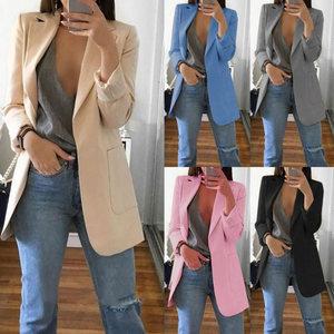 Image 5 - Recém mulher outono cardigans mangas compridas fino ajuste turn down colarinho feminino terno casaco