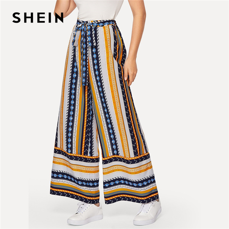 SHEIN Boho Multicolor Self Belted Geo Print Palazzo   Wide     Leg     Pants   Women Spring Casual 2019 Long Loose Trousers Flare   Pants