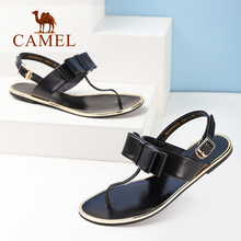 Camel women's shoes sexy sandals flat heel flat bow flip summer female sandals high quality genuine leather European style