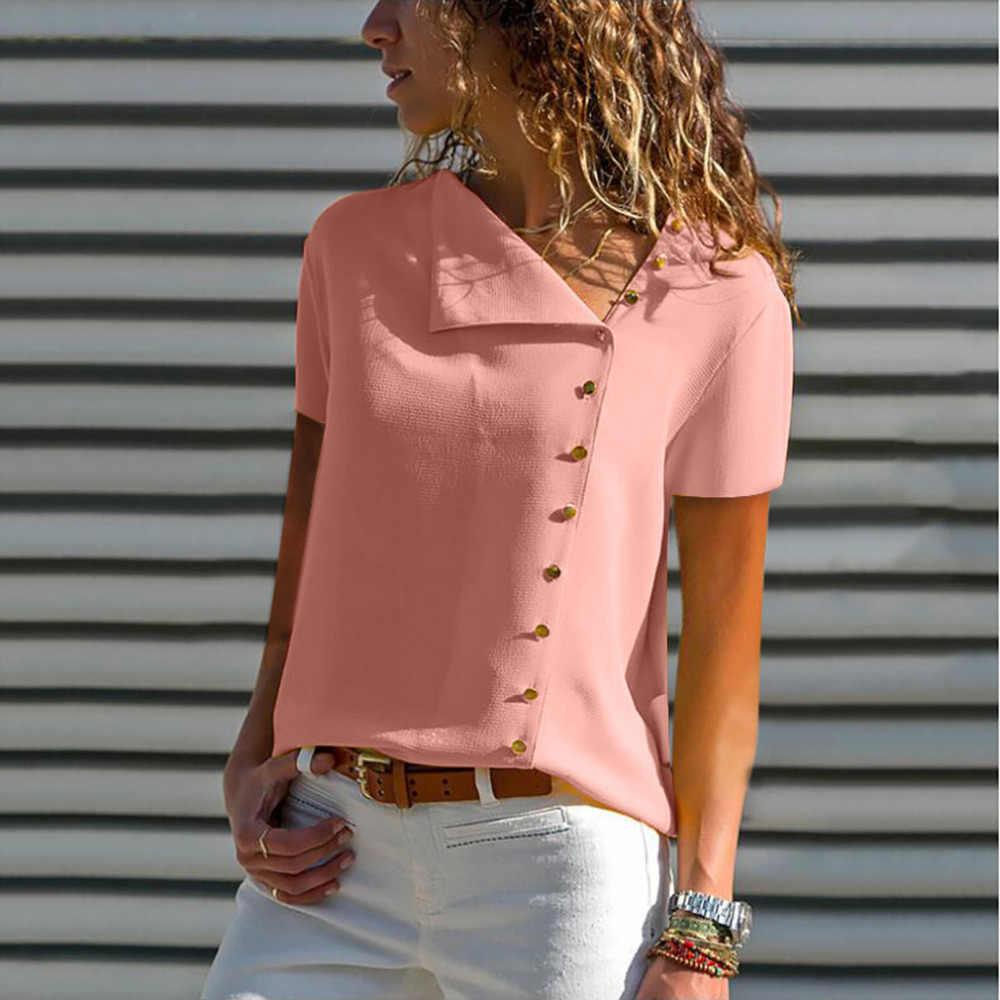 2019 Для женщин блузки топы из прочного материала короткий рукав отложной