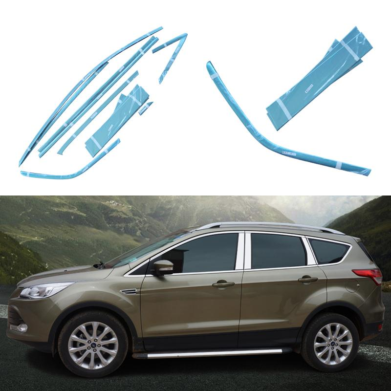 Stainless Steel Car Styling Full Window Trim Decoration Strips For Ford Kuga Escape 2013 2014 2015 Accessories OEM-10-16-24 high quality stainless steel strips car window trim decoration accessories car styling for 2009 2014 kia sorento 12 piece