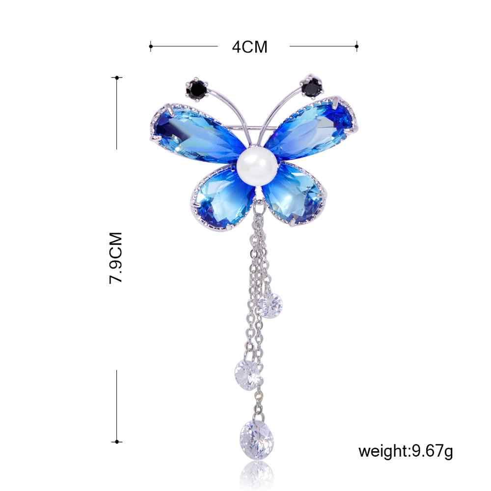 Blucome 美しい昆虫蝶のブローチ模造真珠ジルコン銅ジュエリー女性ガール服スカーフ襟ピンアクセサリー
