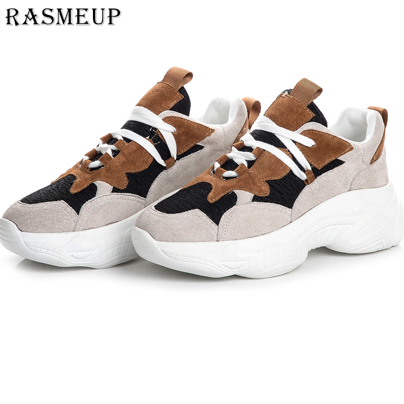 US $30.63 35% OFF|RASMEUP Genuine Leather Chunky Sneakers Women 2019 Spring Lightweight Women's Platform Dad Shoes Fashion Woman Trainers Footwear in