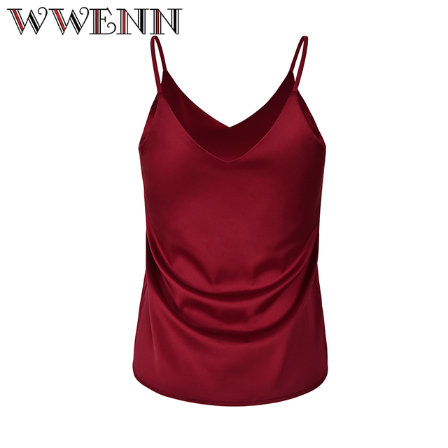 2019 Summer Crop Top Women Camis Silk Satin Halter Top Women Camisole Style Sexy Sleeveless Vest Slim White Tops Roupas Femin 1