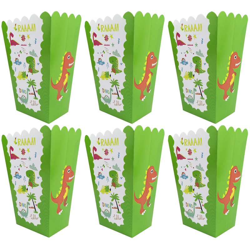 6pcs Dinosaur Popcorn Boxes Paperboard Cups Gift Box Happy Birthday Party Decorations Kids Favors Baby Shower Party Supplies