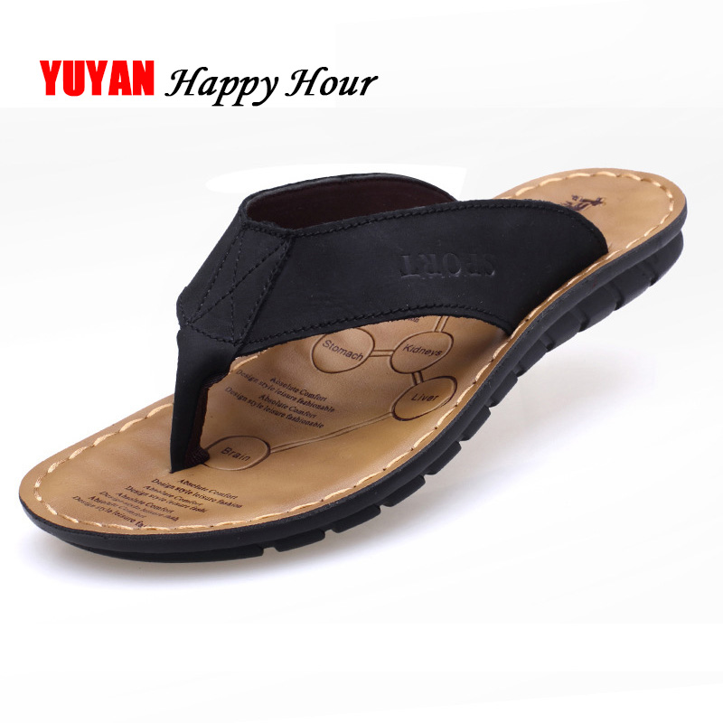 2019 Summer Shoes Men Slippers Genuine Leather Beach Slippers Mens Flip Flop Sandals Summer Man Shoes Male Flip Flops KA673(China)
