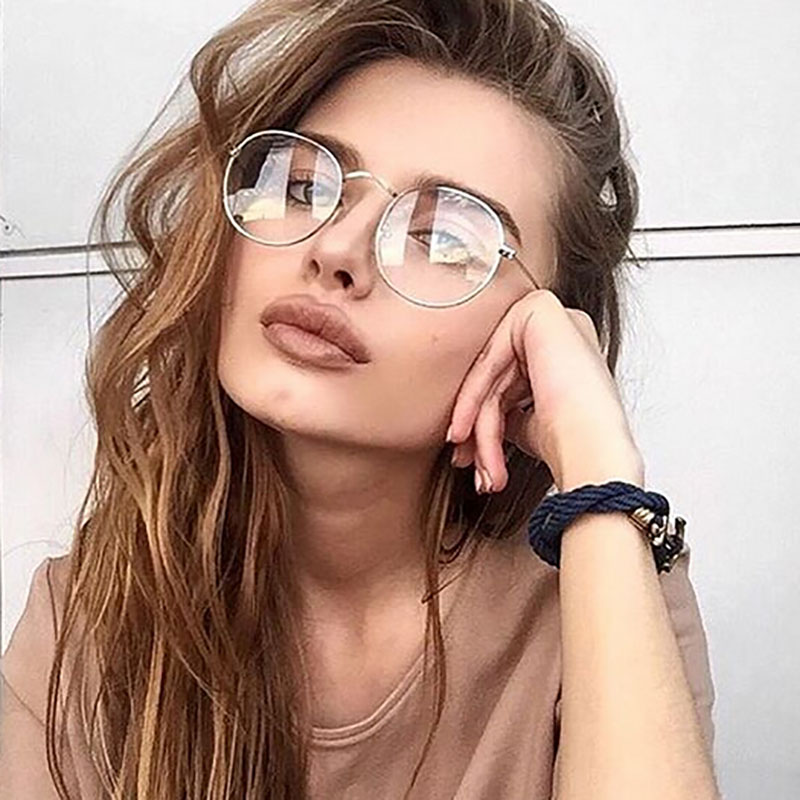 2019 New Designer Woman Glasses Optical Frames Metal Round Glasses Frame Clear Lens Eyeware Black Silver Gold Eye Glass